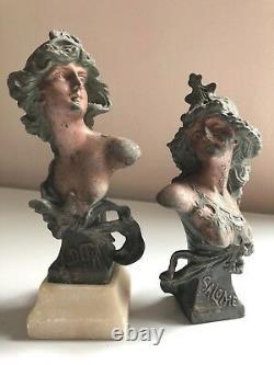 RARE 1890s CAST BUST Sculptor FRANZ IFFLAND Judith & Salome ART NOUVEAU Antique