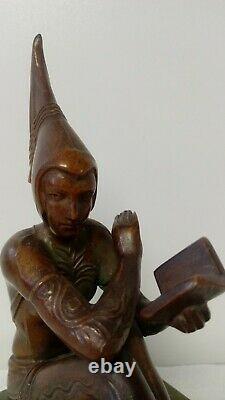 RARE 1920s Gerdago JB Hirsch Bronze Pixie Reader Bookends Art Nouveau Grn Base
