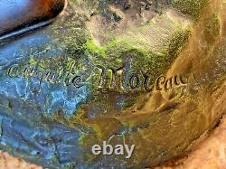 RARE 22 Antique French BRONZE LAMP Signed Auguste Moreau Cherub Water Bearer