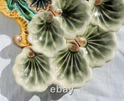 RARE French Majolica oysters plate Dish shells