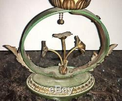 RARE Moe Bridges Arts & Crafts Painted Flower Lamp Base Handel Antique