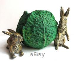 RARE Nuremberg lead inkwell, also called Vienna bronze a cabbage and 2 rabbits