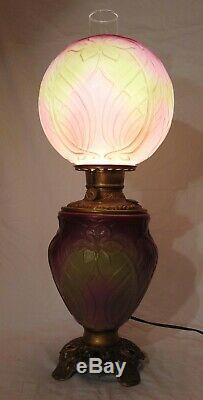 RARE PITTSBURGH GLASS IRIS GWTW Banquet Parlor Lamp Art Nouveau PINK Green AKA