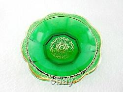 Rare 19th C BACCARAT Emerald Glass Set 6 x Finger Bowls with Gold Hand Paintings