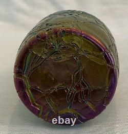 Rare 7.25 Tall Loetz Green and Blue Pampas Glass Vase with Metal Trim Ca. 1900