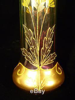 Rare Amethyst & Green Moser Art Nouveau Hand Painted & Enameled Art Glass Vase