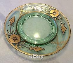 Rare Antique Art Deco Nouveau Gold Encrusted Depression Green Bowl & Underplate