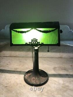 Rare Antique Art Nouveau Piano Lamp with Green Slag Glass