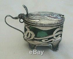 Rare Antique Art Nouveau Pierced Silver Mustard Pot 1905 With Rare Green Lining