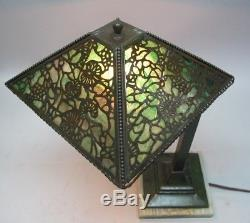 Rare Antique RIVIERE STUDIOS PINE NEEDLE Overlay Piano Lamp c. 1920 Slag Glass