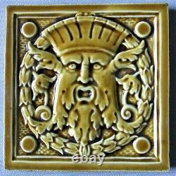 Rare Art Deco Tile French Desvres Nouveau Masceron Green Man Northwind Face