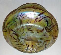 Rare Loetz Kralik Green Pulled Feathered Iridescent Art Glass Vase 1900's