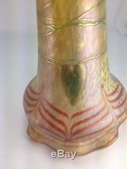 Rare Loetz Pallme-Konig Art Nouveau Phanomen Green Leaf Glass Art Shade