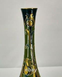 Rare Moorcroft Macintyre Florian Green & Gold Vase Made in England! C. 1915