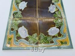 Rare Original Set of 10 Art Nouveau Majolica Tiles by Henry Richards C1903