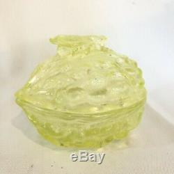 Rare! Vallerysthal Fly Walnut Shell Vaseline Glass Covered Container Candy Dish