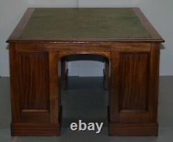 Rare Victorian Four Sided Quad Pedestal Desk In Flamed Mahogany Green Leather