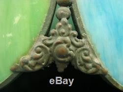 Rare Vtg Antique Slag Glass Brass Lamp Shade Ceiling Light Green & Blue 19 D