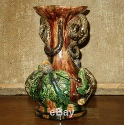 Rare antique palissy ware majolica J. C CEZAR CALDAS snakes lizards frogs vase
