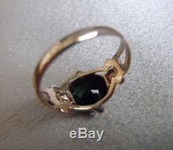 Rarest Antique Ostby Barton 10k Gold Green Tourmaline And Diamond Ring Sz 5
