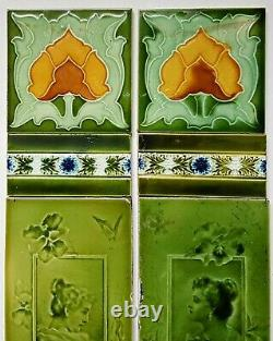 Reclaimed Original Antique Art Nouveau Fireplace Tile Set