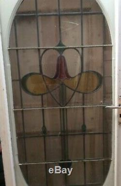 Reclaimed Salvage Victorian Style Art Nouveau Leaded Stained Glass Front Door