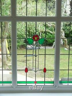 Red & Green Floral Stained Glass Picture Window (removed and available)