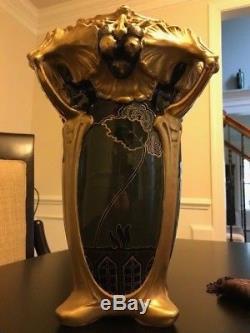 Reduced! Rare Piece Ernst Wahliss Art Nouveau Amphora Vase, Circa 1880-1910
