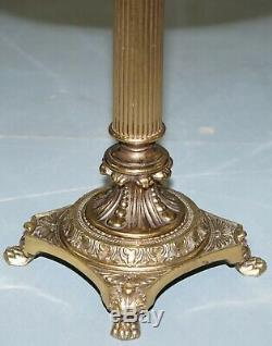 Regency Style Brass Table With Mahogany And Green Leather Top Lamp Wine Side End