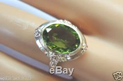 Retro Estate Vintage Peridot Engagement 14K Rose Green Gold Ring Size 7.75 UK-P