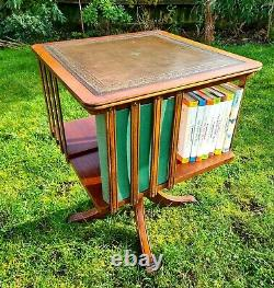 Revolving Mahogany Bookcase With Green Leather Top