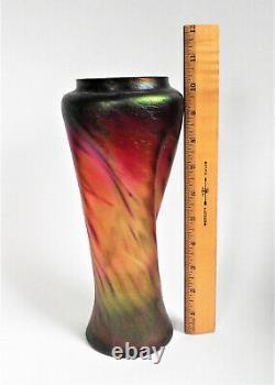 Rindskopf Pepita Red Green Iridescent Bohemian Antique Art Nouveau Glass Vase