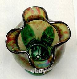 Rindskopf, Quadrefoil Flower Form, Pulled Feathering, Oil Spots, Very Nice Vase