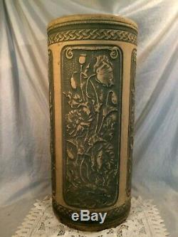 Robinson Ransbottom Weller Pottery Green Poppy Umbrella Stand 22tx10d Perfect