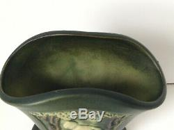 Roseville Rosecraft Art Nouveau Green Nude Panel Pottery Fan Vase Rare