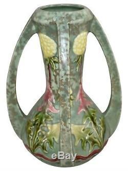Royal Dux Amphora Bohemia Pottery Art Nouveau Yellow Thistle Porcelain Vase