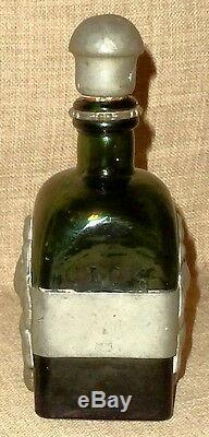 SALE! ANTIQUE GREEN GLASS C. L. O. C. WHISKEY BOTTLE withREPOUSSE PEWTER WORKDENMARK