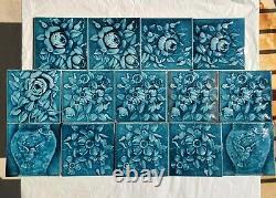 SET OF 14 ANTIQUE A. E. AMERICAN ENCAUSTIC TILES 6X6 BLUE GREEN ART NOUVEAU c1900