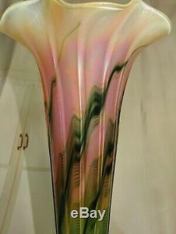 SIGNED James Lundberg PEACH blossom TRUMPET VASE pulled feather GLASS 17 rare