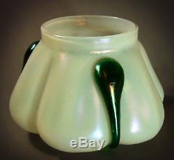 STUNNING LARGE LOETZ LOBED IRIDESCENT ART GLASS VASE with GREEN TEARDROPS
