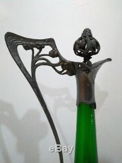 SUPERB Art Nouveau WMF Pewter & Green Glass Decanter 19th/early XX