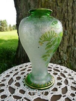 Saint Louis ST LOUIS French Art Nouveau GREEN GLASS OVERLAY Acid-Etched VASE