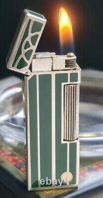 Scarce Newly Serviced + Warranty Dunhill Green Art Nouveau Rollagas Lighter