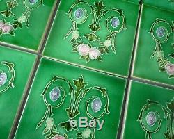 Set 10 Antique Art Nouveau Majolica Relief Moulded Fireplace Tiles Edwardian