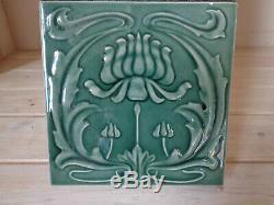 Set of 10 original antique fireplace tiles Art Nouveau reclaimed salvaged