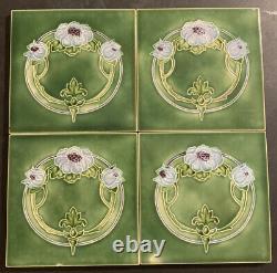 Set of 4 Antique T & R BOOTE Art Nouveau Tiles 1900's Floral Majolica ENGLAND