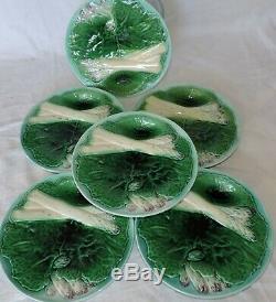 Set of 6 French Majolica Creil et Montereau Asparagus plates