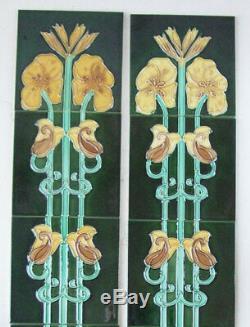 Set of Evening Primrose Pattern Antique Art Nouveau Fireplace Tiles Birmingham