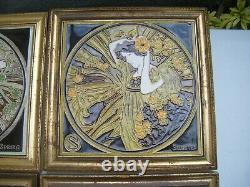 Set of Four Maw & Co Framed Art Nouveau Majolica Tiles FOUR SEASONS