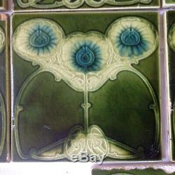 Seven Antique Green Art Nouveau Macintosh Style Fireplace Tiles